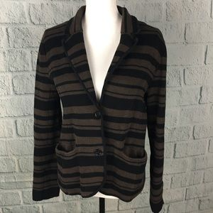 Loft Brown Black Striped Sweater Knit Blazer